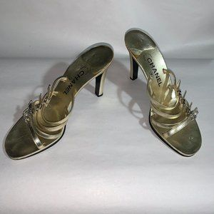CHANEL Shoes Logo Gold Crystal Heels Pumps EUC